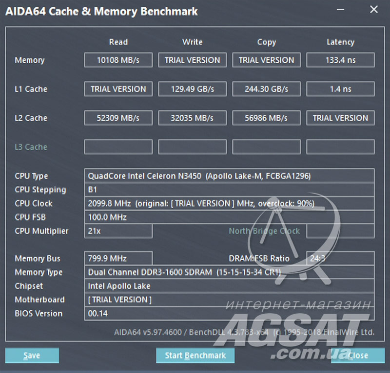 Тест AIDA64 Cache & Memory на Beelink AP34 Ultimate