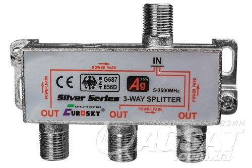 SAT Split 3 way EUROSKY 5 - 2500МГц с проходом питания
